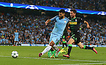 Sergio Aguero of Manchester City scores his hat rick goal during the UEFA Champions League Group C match at The Etihad Stadium, Manchester. Picture date: September 14th, 2016. Pic Simon Bellis/Sportimage