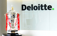 Picture by Simon Wilkinson/SWpix.com - 05/04/2019 - Rugby League World Cup 2021 - RLWC2021 - Jon Dutton with the Deloitte team at Leeds office pictured with the Rugby League World Cup