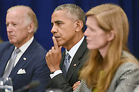 (L-R) United States Vice President Joe Biden, U.S. President Barack Obama and Samantha Power, United States Ambassador to the United Nations, attend a bilateral meeting with Prime Minister Haider al-Abadi of Iraq at the Lotte New York Palace Hotel in New York, NY, on September 19, 2016.<br /> Credit: Anthony Behar / Pool via CNP /MediaPunch