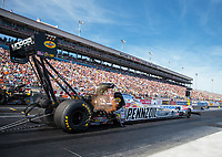 Oct 27, 2018; Las Vegas, NV, USA; NHRA top fuel driver Leah Pritchett during qualifying for the Toyota Nationals at The Strip at Las Vegas Motor Speedway. Mandatory Credit: Mark J. Rebilas-USA TODAY Sports