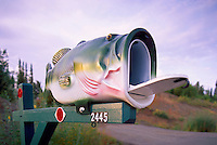 Artistic Folk Art Fish Mailbox along a Rural Road, in Alaska, USA