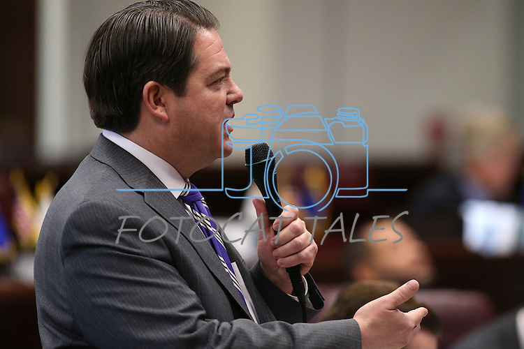 Nevada Senate Majority Leader Michael Roberson, R-Henderson, speaks on the Senate floor at the Legislative Building in Carson City, Nev., on Tuesday, April 7, 2015. <br /> Photo by Cathleen Allison