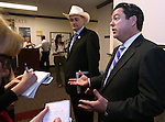 Nevada Sen. James Settelmeyer, R-Minden, left, and Senate Majority Leader Michael Roberson, R-Henderson, answer media questions at the Legislative Building in Carson City, Nev., on Wednesday, Feb. 18, 2015. <br /> Photo by Cathleen Allison