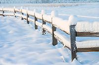 Snow covered split rail fence by Creamer's field in Fairbanks, Alaska