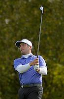 16.10.2014. The London Golf Club, Ash, England. The Volvo World Match Play Golf Championship.  Day 2 group stage matches.  Francesco Molinari [ITA] tee shot fourth hole.