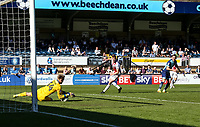 Matthew Bloomfield of Wycombe Wanderers shoots during the Sky Bet League 2 match between Wycombe Wanderers and Cheltenham Town at Adams Park, High Wycombe, England on the 8th April 2017. Photo by Liam McAvoy.