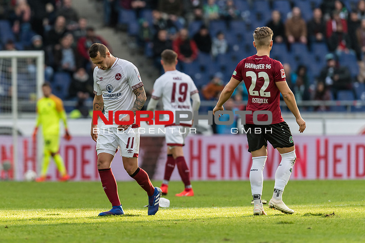 09.02.2019, HDI Arena, Hannover, GER, 1.FBL, Hannover 96 vs 1. FC Nuernberg<br /> <br /> DFL REGULATIONS PROHIBIT ANY USE OF PHOTOGRAPHS AS IMAGE SEQUENCES AND/OR QUASI-VIDEO.<br /> <br /> im Bild / picture shows<br /> Adam Zreľ&aacute;k / Adam Zrelak (Nuernberg #11), Matthias Ostrzolek (Hannover 96 #22), <br /> <br /> Foto &copy; nordphoto / Ewert