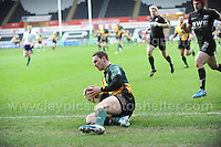 Northampton Saints George North touches down to score his sides first try. Liberty Stadium, Swansea, South Wales 12.01.14. Ospreys v Northampton Heineken Cup round 5 pool 1 - pIc credit Jeff Thomas photography