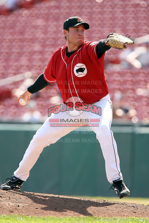 August 22 2008:  Pitcher Preston Larrison of the Buffalo Bisons, Class-AAA affiliate of the Cleveland Indians, during a game at Dunn Tire Park in Buffalo, NY.  Photo by:  Mike Janes/Four Seam Images