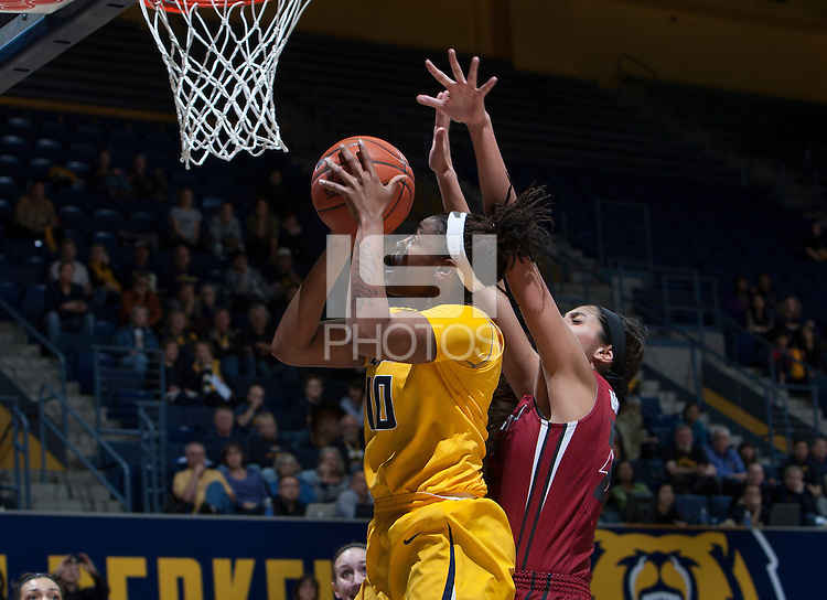 Mercedes Jefflo of California shoots the ball during the game against Washington State at Haas Pavilion in Berkeley, California on February 27th, 2014.   California defeated Washington State, 75-68.