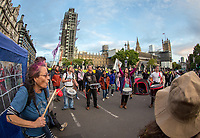 Environmental activists from Extinction Rebellion protest in London on 09 October 2019 in London, England.<br /> .<br /> Protesters plan to blockade the London government district for a two week period, as part of 'International Rebellion' taking place in over 60 cities around the world, calling for decisive and immediate action from governments in the face of climate and ecological emergency. <br /> .<br /> Photo by Andy Rowland.