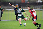 Logan Fonoti kicks a penalty for Manurewa. Counties Manukau Premier Club Rugby game between Ardmore Marist and Manurewa, played at Bruce Pulman Park Papakura on Saturday May 12th 2018. Ardmore Marist won the game 20 - 3 after leading 17 - 3 at halftime.<br /> Ardmore Marist - Katetistoti Nginingini try, penalty try, Latiume Fosita conversion, Latiume Fosita 2 penalties.<br /> Manurewa - Logan Fonoti penalty.<br /> Photo by Richard Spranger.