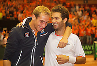14-sept.-2013,Netherlands, Groningen,  Martini Plaza, Tennis, DavisCup Netherlands-Austria, Doubles,   Dutch winning doubles,  Jean-Julien Rojer and Thiemo de Bakker(L)(NED) celebratew<br /> Photo: Henk Koster