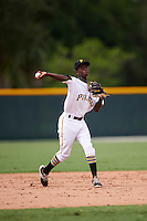 GCL Pirates shortstop Victor Ngoepe (5) throws to first during a game against the GCL Phillies on August 6, 2016 at Pirate City in Bradenton, Florida.  GCL Phillies defeated the GCL Pirates 4-1.  (Mike Janes/Four Seam Images)