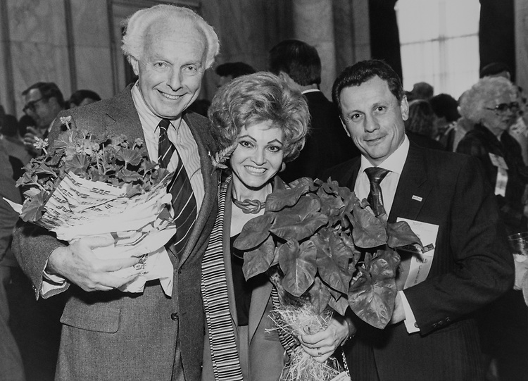 Rep. Tom Lantos, D-Calif., with his wife Annette Lantos and party member, on April 17, 1989. (Photo by Andrea Mohin/CQ Roll Call via Getty Images)