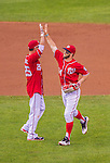 27 July 2013: Washington Nationals outfielder Bryce Harper celebrates a win against the New York Mets at Nationals Park in Washington, DC. The Nationals defeated the Mets 4-1. Mandatory Credit: Ed Wolfstein Photo *** RAW (NEF) Image File Available ***