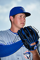 Dunedin Blue Jays pitcher Nate Pearson (24) poses for a photo before a game against the Bradenton Marauders on May 3, 2018 at LECOM Park in Bradenton, Florida.  (Mike Janes/Four Seam Images)