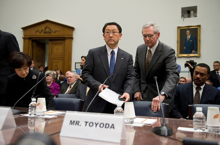 Akio Toyoda, Toyota President and CEO, arrives to testify before a House Oversight and Government Reform Committee on the federal government's response to the recall of millions of Toyota vehicles due to reports of malfunctioning gas pedals, Feb. 24, 2010.