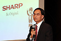 November 1, 2016, Tokyo, Japan - Japanese electronics giant Sharp president and Taiwan's Hon Hai vice chairman Tai Jeng-wu announces Sharp's first half financial result ended September 30 in Tokyo on Tuesday, November 1, 2016. Troubled Sharp is expecting to return to the balck for operating profit at the end of the current business year ended March.   (Photo by Yoshio Tsunoda/AFLO) LWX -ytd-