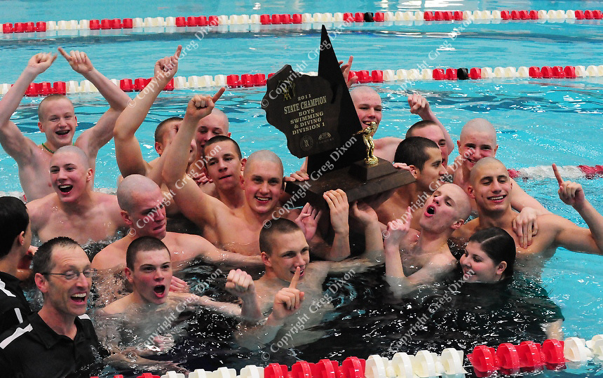 Madison Memorial celebrates their 1st place victory in the WIAA Division 1 State swimming tournament on Saturday, 2/19/11, at the Natatorium in Madison, Wisconsin | Photo by Greg Dixon appeared in Luke Briggs' article in the Wisconsin State Journal and Madison.com at http://j.mp/hoVYTg
