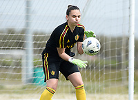 20180304 - LARNACA , CYPRUS :  Belgian Nicky Evrard pictured during a Matchday -1 training from The Belgian Red Flames prior to their game against Austria , on Sunday 4 March 2018 at the Alpha Sports Grounds in Larnaca , Cyprus . This will be the third game in group B for Belgium during the Cyprus Womens Cup , a prestigious women soccer tournament as a preparation on the World Cup 2019 qualification duels. PHOTO SPORTPIX.BE | DAVID CATRY