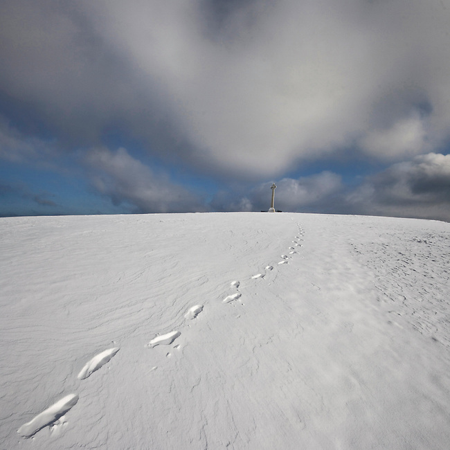 Footprints in the Snow leading to the Tennyson monument, Freshwater, Isle of Wight.