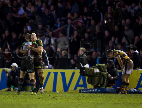 08.01.2011 Aviva Premiership Rugby from the Twickenham Stoop. Harlequins v London Wasps. Mike Brown and George Robson celebrate victory following a physical game against London Wasps.
