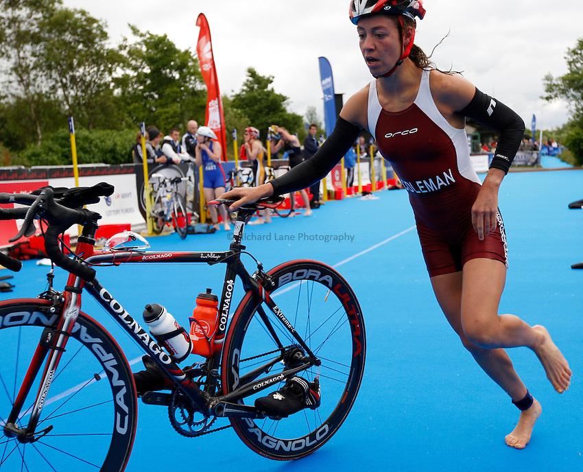 Photo: Richard Lane/Richard Lane Photography. British Triathlon Super Series, Parc Bryn Bach. 18/07/2009. .Sophie Coleman goes from swimming to cycling in the transition area during in the Women's Elite Race transition area.