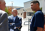From left, Democratic governor candidate Steve Sisolak, Raiders president Marc Badain and University of Nevada, Reno head football coach Jay Norvell talk during a tour of the campus in Reno, Nev., on Thursday, Aug. 16, 2018. The Raiders are considering several potential training camp locations in Reno. (Cathleen Allison/Las Vegas Review-Journal)