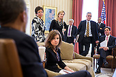 United States President Barack Obama meets with senior advisors in the Oval Office, March 26, 2013. Pictured, from left, are: Senior Advisor Valerie Jarrett; Alyssa Mastromonaco, Deputy Chief of Staff for Operations; Kathryn Ruemmler, Counsel to the President; Pete Rouse, Counselor to the President; Chief of Staff Denis McDonough; Rob Nabors, Deputy White House Chief of Staff for Policy; and David Simas, Deputy Senior Advisor for Communications and Strategy. .Mandatory Credit: Pete Souza - White House via CNP
