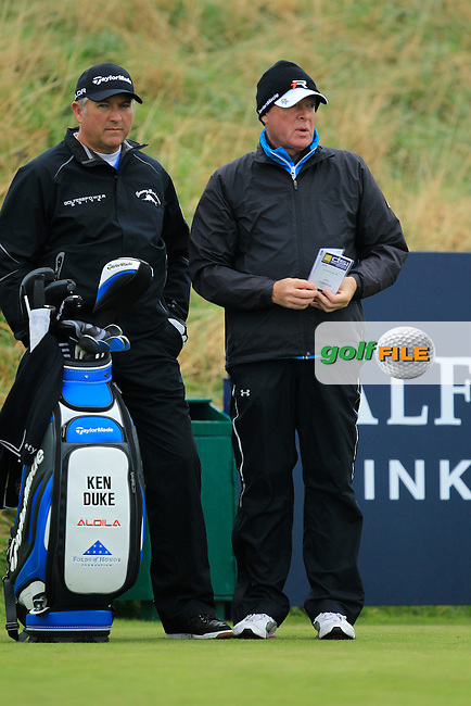 Ken Duke (USA) and caddie during the Practice day for the Alfred Dunhill Links Championship at Kingsbarns Golf Club on Wednesday 25th September 2013.<br /> Picture:  Thos Caffrey / www.golffile.ie