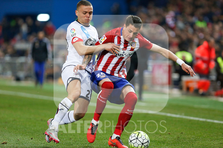 Atletico de Madrid´s Gimenez and Deportivo de la Coruna´s Jonathan during 2015-16 La Liga match between Atletico de Madrid and Deportivo de la Coruna at Vicente Calderon stadium in Madrid, Spain. March 12, 2016. (ALTERPHOTOS/Victor Blanco)