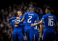 Eden Hazard of Chelsea congratulates goal scorer Charly Musonda of Chelsea during the Carabao Cup (Football League cup) 23rd round match between Chelsea and Nottingham Forest at Stamford Bridge, London, England on 20 September 2017. Photo by Andy Rowland.
