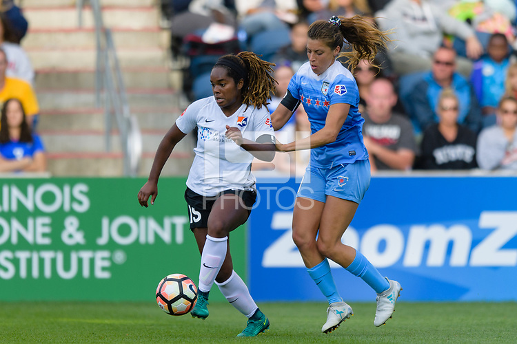 Bridgeview, IL - Sunday June 25, 2017: Kayla Mills, Sofia Huerta during a regular season National Women's Soccer League (NWSL) match between the Chicago Red Stars and Sky Blue FC at Toyota Park. The Red Stars won 2-1.