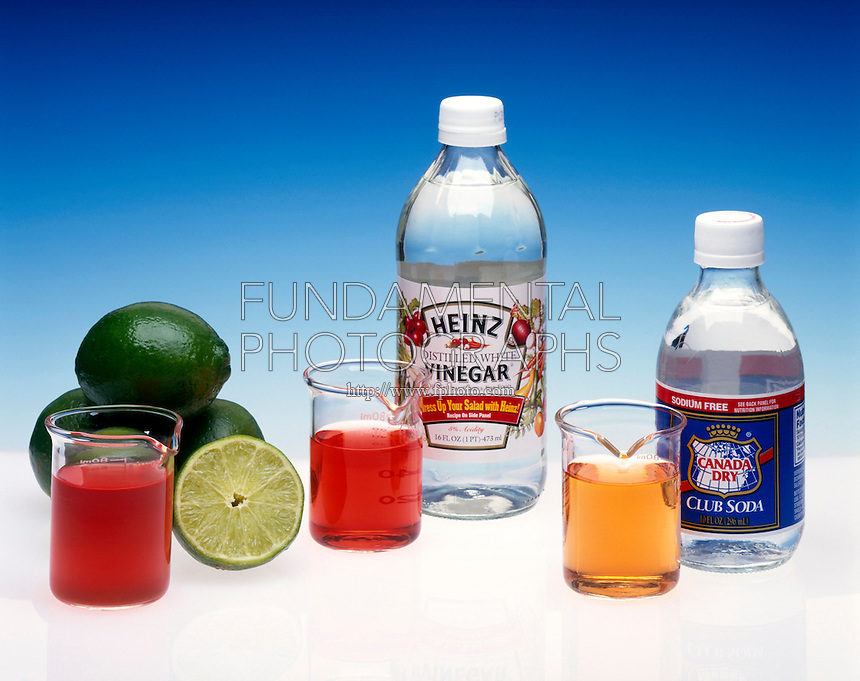 pH INDICATOR: LIME, VINEGAR & CLUB SODA<br /> Universal indicator is used<br /> Acid-Base indicator shows that lime juice, vinegar and club soda are all acidic.