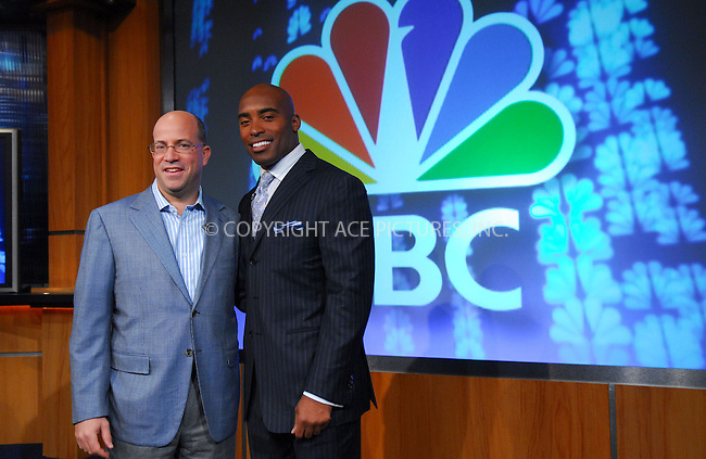 WWW.ACEPIXS.COM . . . . . ....February 13, 2007, New York City. ....Tiki Barber, here with CEO NBC Universal Jeff Zucker, holds Press Conference to be named Correspondent for NBC News 'Today Show'. ....Please byline: KRISTIN CALLAHAN - ACEPIXS.COM.. . . . . . ..Ace Pictures, Inc:  ..(212) 243-8787 or (646) 769 0430..e-mail: info@acepixs.com..web: http://www.acepixs.com