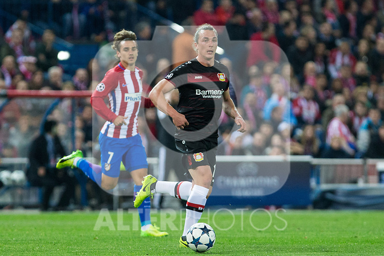 Roberto Hilbert of Bayer 04 Leverkusen during the match of Uefa Champions League between Atletico de Madrid and Bayer Leverkusen at Vicente Calderon Stadium  in Madrid, Spain. March 15, 2017. (ALTERPHOTOS / Rodrigo Jimenez)