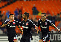 WASHINGTON, D.C - April 26 2014: Sean Franklin  of D.C. United after scoring in the D.C. United vs F.C. Dallas MLS match at RFK Stadium, in Washington D.C. United won 4-1.