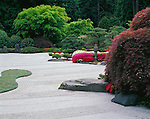 Washington Park Portland, OR<br /> Sea of raked sand in the Flat Garden, early spring, The Japanese Garden