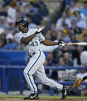 Juan Encarnacion of the Florida Marlins bats during a 2002 MLB season game against the Los Angeles Dodgers at Dodger Stadium, in Los Angeles, California. (Larry Goren/Four Seam Images)