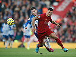 Aaron Connolly of Brighton turns Dejan Lovren of Liverpool during the Premier League match at Anfield, Liverpool. Picture date: 30th November 2019. Picture credit should read: Simon Bellis/Sportimage