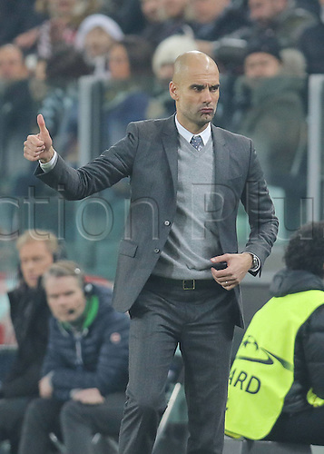 23.02.2016. Turin, Italy. UEFA Champions League football. Juventus versus Bayern Munich.  Trainer Pep GUARDIOLA (FCB)