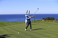 NFL San Francisco 49rs former quarterback Steve Young tees off the 4th tee at Spyglass Hill during Thursday's Round 1 of the 2018 AT&amp;T Pebble Beach Pro-Am, held over 3 courses Pebble Beach, Spyglass Hill and Monterey, California, USA. 8th February 2018.<br /> Picture: Eoin Clarke | Golffile<br /> <br /> <br /> All photos usage must carry mandatory copyright credit (&copy; Golffile | Eoin Clarke)