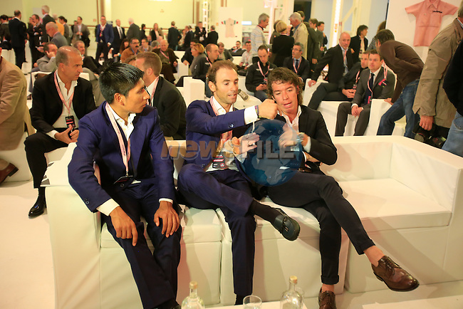 Nairo Alexander Quintana (COL), Alejandro Valverde (ESP) and Rigoberto Uran (COL) relax at the 2014 Giro d'Italia Presentation held in the Palazzo del Ghiaccio in Milan, Italy. 7th October 2013.<br /> (Photo: Eoin Clarke/www.newsfile.ie)