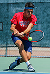 SURPRISE, AZ - MAY 12: Alvaro Regalado of the Columbus State Cougars returns a ball against Vivien Versier of the Barry Buccaneers during the Division II Men's Tennis Championship held at the Surprise Tennis & Racquet Club on May 12, 2018 in Surprise, Arizona. (Photo by Jack Dempsey/NCAA Photos via Getty Images)
