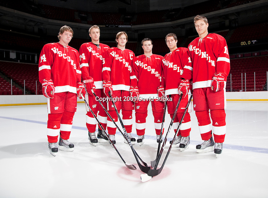 October 6:  Seniors from left to right, Ben Grotting (14), John Mitchell (24), Blake Geoffrion (5), Michael Davies (9), Aaron Bendickson (13), and Andy Bohmbach (11) of the 2009-10 Wisconsin Badgers men's hockey team. (Photo by David Stluka)