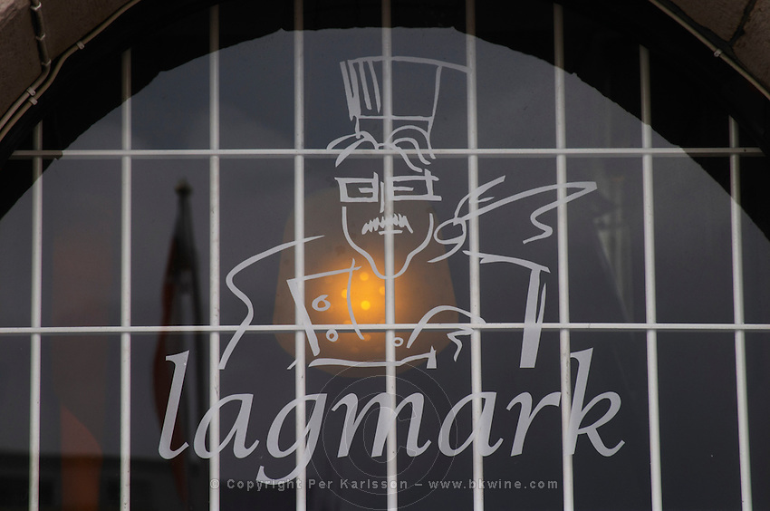 Lagmarks gastronomic restaurant on Sundstorget, a sign over the entrance door. Helsingborg, Skane, Scania. Sweden, Europe.