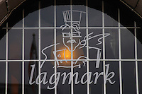 Lagmarks gastronomic restaurant on Sundstorget, a sign over the entrance door. Helsingborg, Skane, Scania. Sweden, Europe.