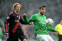 FUSSBALL   1. BUNDESLIGA   SAISON 2011/2012   19. SPIELTAG Werder Bremen - Bayer 04 Leverkusen                    28.01.2012 Stefan Kiessling (Bayer 04 Leverkusen) gegen Sokratis Papastathopoulos (re, SV Werder Bremen)