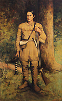 David Crockett, 1786-1836, American folk hero, frontiersman, soldier, and politician who fought in the Texas Revolution, portrait by S Salomon, 1936, hung in the mezzanine of the Driskill Hotel, built 1886 in Romanesque Revival style by cattle baron Jesse Driskill, on East 6th St or Dirty Sixth, in the Sixth Street Historic District in downtown Austin, Texas, USA. The area was Austin's commercial district in the late 19th century, and the buildings are mainly Victorian brick structures. It is now known for its lively bars, cafes, nightclubs and music venues. Picture by Manuel Cohen